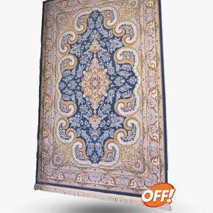 فرش ۱۲۰۰ شانه طرح روشا آبی درباری