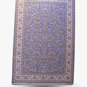 فرش ۱۲۰۰ شانه طرح کلارا گل برجسته طوسی حاشیه کرم