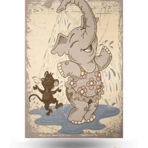 فرش کودک طرح فیل و موش